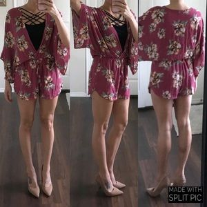 First Love pink floral rayon robe-style romper